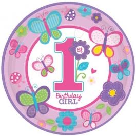 8 Partyteller Sweet Birthday Girl zum 1. Kindergeburtstag, Maedchen