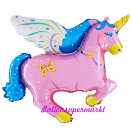 Pegasus pink Luftballon aus Folie mit Ballongas Helium