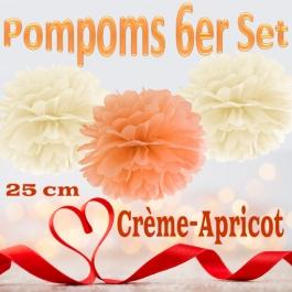 Pompoms in Crème und Apricot, 25 cm, 6er Set