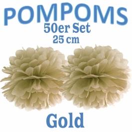 Pompoms Gold, 25 cm, 50 Stück