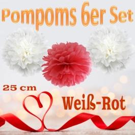 Pompoms in Weiß und Rot, 25 cm, 6er Set