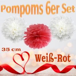 Pompoms in Weiß und Rot, 35 cm, 6er Set