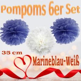 Pompoms in Marineblau und Weiß, 35 cm, 6er Set