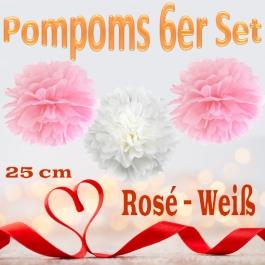 Pompoms in Rosé und Weiß, 25 cm, 6er Set