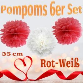 Pompoms in Rot und Weiß, 35 cm, 6er Set