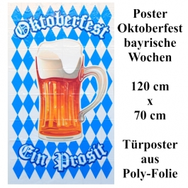 Großes Poster 120 cm x 70 cm, Oktoberfest - Bayrische Wochen Dekoration, Ein Prosit, Bierkrug