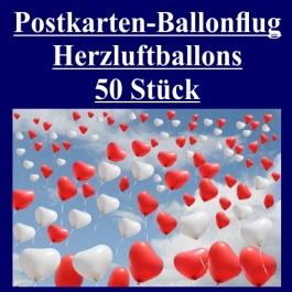 Postkarten, Ballonflugkarten Hochzeit Herzluftballons, 50 Stück