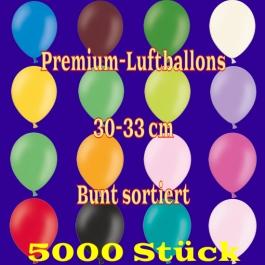 Premium-Qualität Luftballons, 30 - 33 cm, bunt sortiert, 5000 Stück