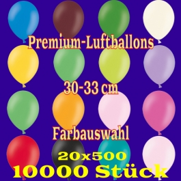 Luftballons 30-33 cm, Premium-Qualität, Farbauswahl, 10000 Stück, 20 x 500