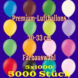 Luftballons 30-33 cm, Premium-Qualität, Farbauswahl, 5000 Stück, 5 x 1000