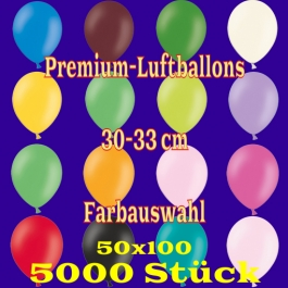 Luftballons 30-33 cm, Premium-Qualität, Farbauswahl, 5000 Stück