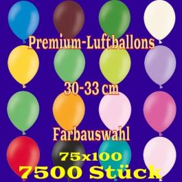 Luftballons 30-33 cm, Premium-Qualität, Farbauswahl, 7500 Stück, 75 x 100