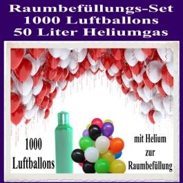 Raumbefüllungs-Set 1000 Luftballons, 2x50 Liter Heliumgas