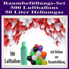 Raumbefüllungs-Set 500 Luftballons, 50 Liter Heliumgas