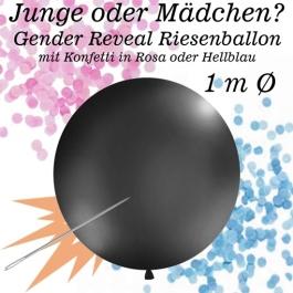 Gender Reveal Konfetti-Luftballon 100 cm, schwarz mit Konfetti gefüllt, 1 Stück