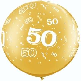 Riesen-Luftballon Zahl 50, gold, 90 cm, Riesenballon mit Geburtstagszahl, Zahl 50 auf dem riesigen Ballon, Goldene Hochzeit