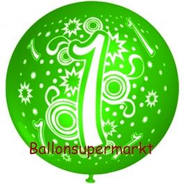 Riesen-Luftballon Zahl 1, gruen, 75 cm, Riesenballon zum 1. Geburtstag, Zahl 1 auf dem riesigen Ballon