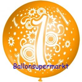 Riesen-Luftballon Zahl 1, orange, 75 cm, Riesenballon zum 1. Geburtstag, Zahl 1 auf dem riesigen Ballon