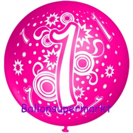 Riesen-Luftballon Zahl 1, pink, 75 cm, Riesenballon zum 1. Geburtstag, Zahl 1 auf dem riesigen Ballon