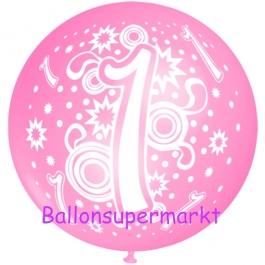 Riesen-Luftballon Zahl 1, rosa, 75 cm, Riesenballon zum 1. Geburtstag, Zahl 1 auf dem riesigen Ballon
