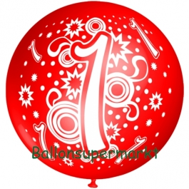 Riesen-Luftballon Zahl 1, rot, 75 cm, Riesenballon zum 1. Geburtstag, Zahl 1 auf dem riesigen Ballon