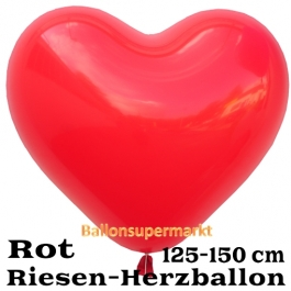 Riesen-Herzluftballon 150 cm, rot