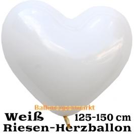 Riesen-Herzluftballon 150 cm, weiß
