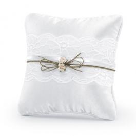 Ringkissen, Vintage Look, Weiß mit  Rosen, Schleife aus Jute und Spitze