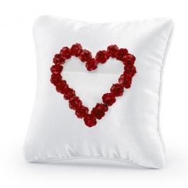 Ringkissen, Weiß mit Rosenherz in Rot
