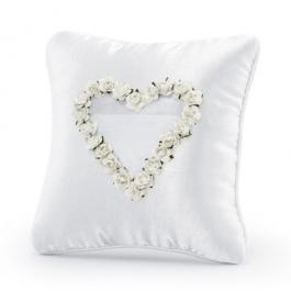 Ringkissen, Weiß mit Rosenherz in Weiß