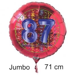 Großer Zahl 87 Luftballon aus Folie zum 87. Geburtstag, 71 cm, Rot/Blau, heliumgefüllt