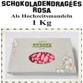 Schokoladendragees Hochzeitskonfekt in Rosa als Hochzeitsmandeln