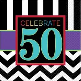 Geburtstags-Servietten Celebrate 50, zum 50. Geburtstag