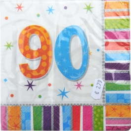 Servietten zum 90. Geburtstag, Radiant Birthday Papierservietten, 90. Jubiläum, Jahrestag zum 90.