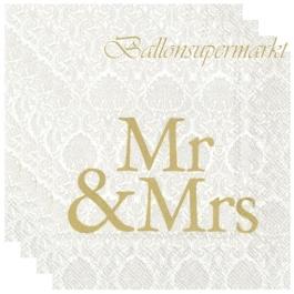 Servietten zur Hochzeit, Mr & Mrs, gold