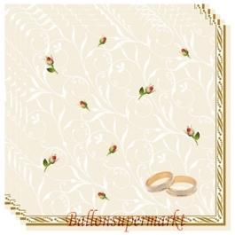 Servietten zur Hochzeit, Trauringe und Rosenknospen