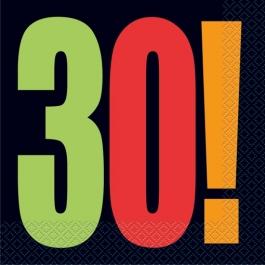 Servietten zum 30. Geburtstag, zum 30. Jubiläum, Zahl 30, Cheer Party