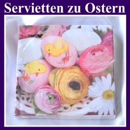 Servietten zu Ostern, Papierserviette, 20 Stück, 3-lagig, mit Ostereiern, Osterküken und Frühlingsblumen