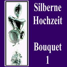 Silberne Hochzeit, Bouquet 1, 3 silberne Herzluftballons und 2 silberne Luftballons Zahl 25, alle Folienballons mit Ballongas