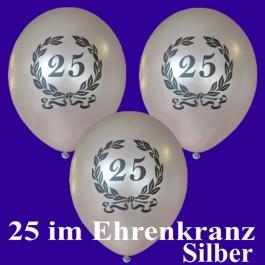 Silberne Luftballons Zahl 25 im Lorbeerkranz