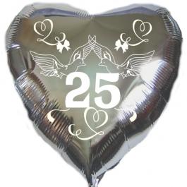 Herzluftballon aus Folie in Silber, Tauben, Herzen und Schleifen, Zahl 25, zur Silbernen Hochzeit inklusive Helium Ballongas
