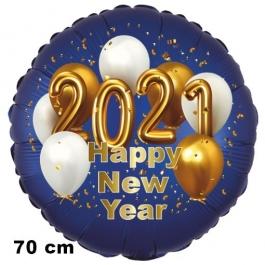 Großer Silvester Luftballon: 2021 Happy New Year Satin de Luxe, blau, 70 cm
