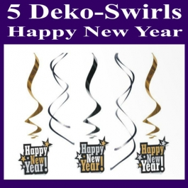 Silvester Dekoration, Swirls, Wirbler, Deko-Hänger, Happy New Year