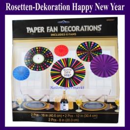 Silvester Dekoration Rosetten Happy New Year