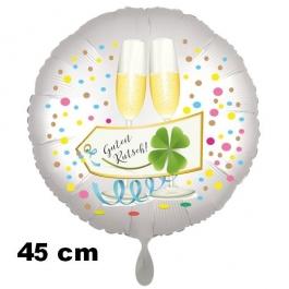 Silvester Luftballon: Guten Rutsch! Satin de Luxe, weiß, 45 cm