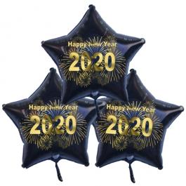 Silvester Bouquet bestehend aus 3 Sternballons in Schwarz mit Helium, 2020 Feuerwerk,