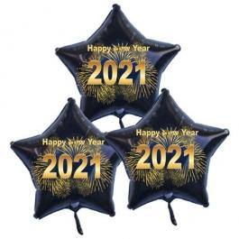 Silvester Bouquet bestehend aus 3 Sternballons in Schwarz mit Helium, 2021 Feuerwerk,