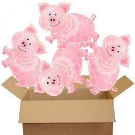 4 große Glücksschweinchen Luftballons zur Silvesterparty