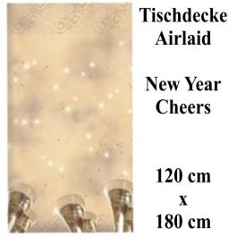 Tischdecke Silvester Dekoration, Cheers New Year, 120 x 180 cm, Airlaid