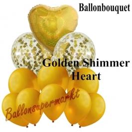 Ballon-Bouquet Golden Shimmer Heart mit 11 Luftballons
